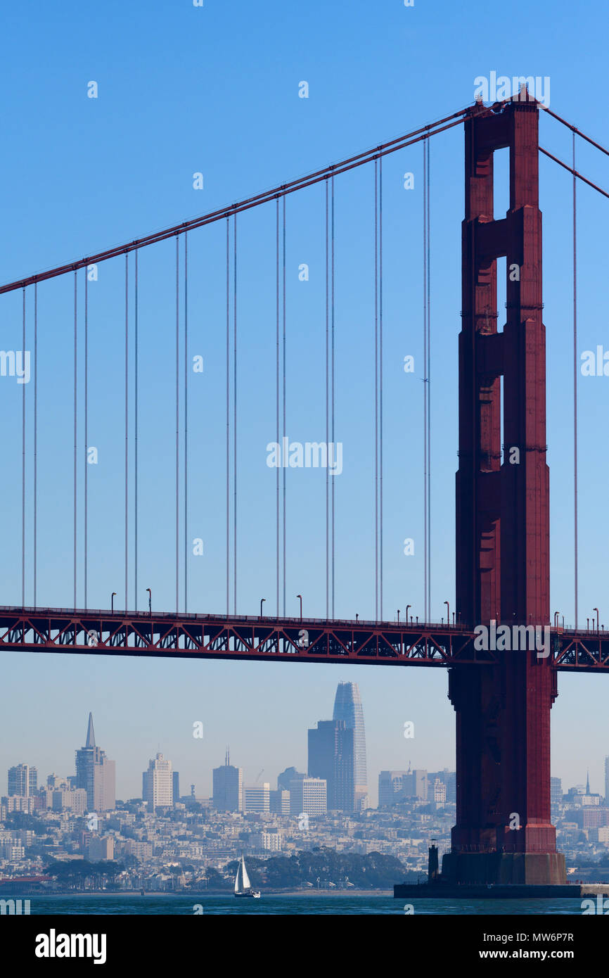 San Francisco Bay and the San Francisco Skyline as seen from under the Golden Gate Bridge with sailboats. - Stock Image