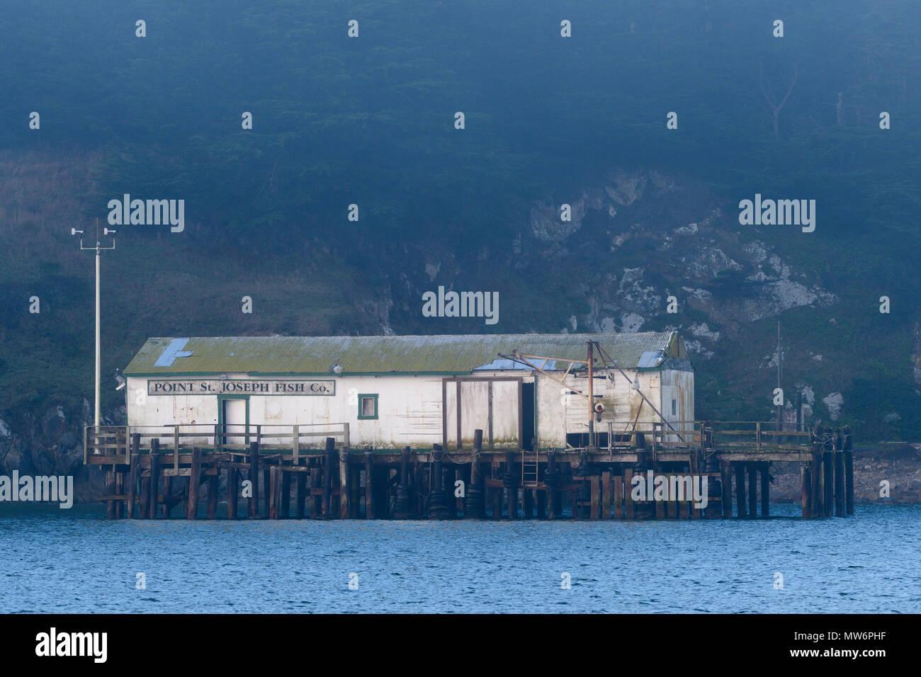 The Point st. joseph fish company building in Drakes Bay, California, USA - Stock Image