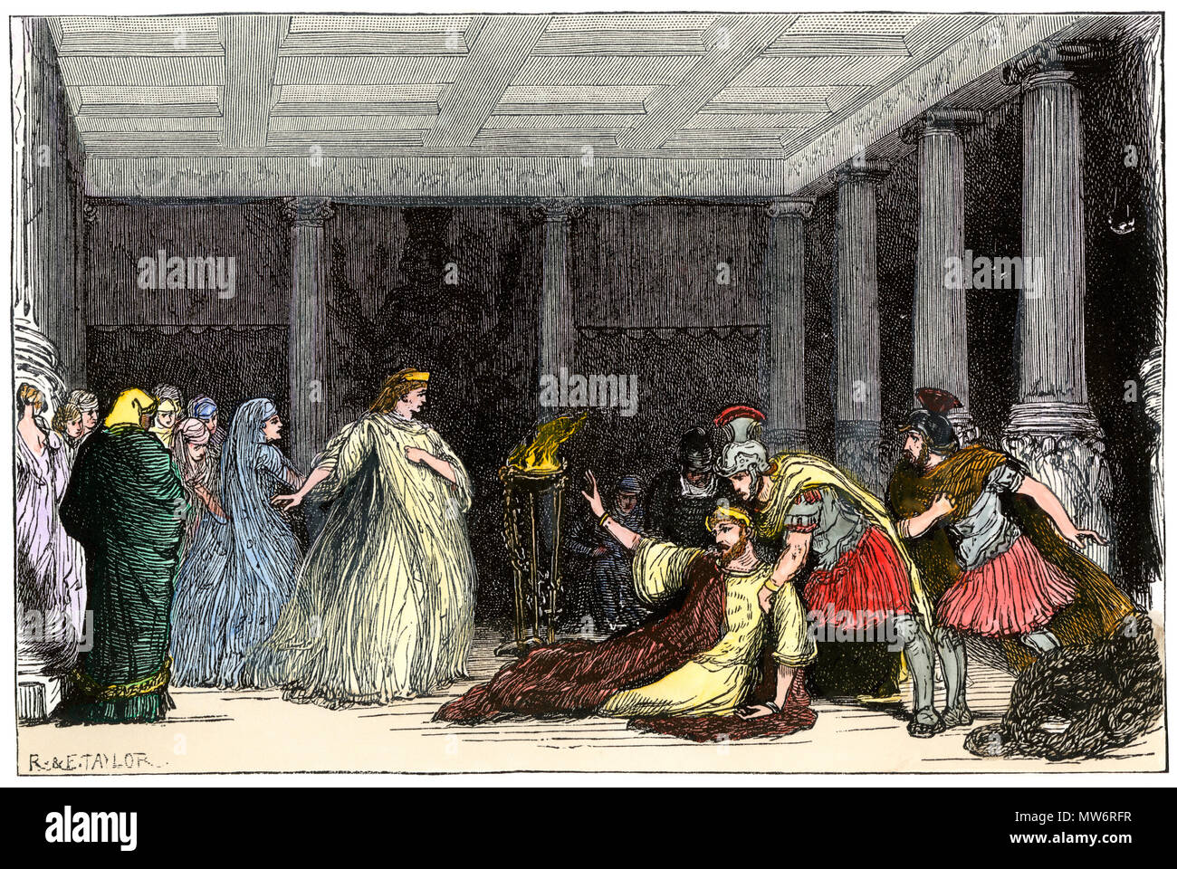 Tennyson's 'The Cup' performed at the Lyceum by Henry Irving and Ellen Terry, 1881. Hand-colored woodcut - Stock Image