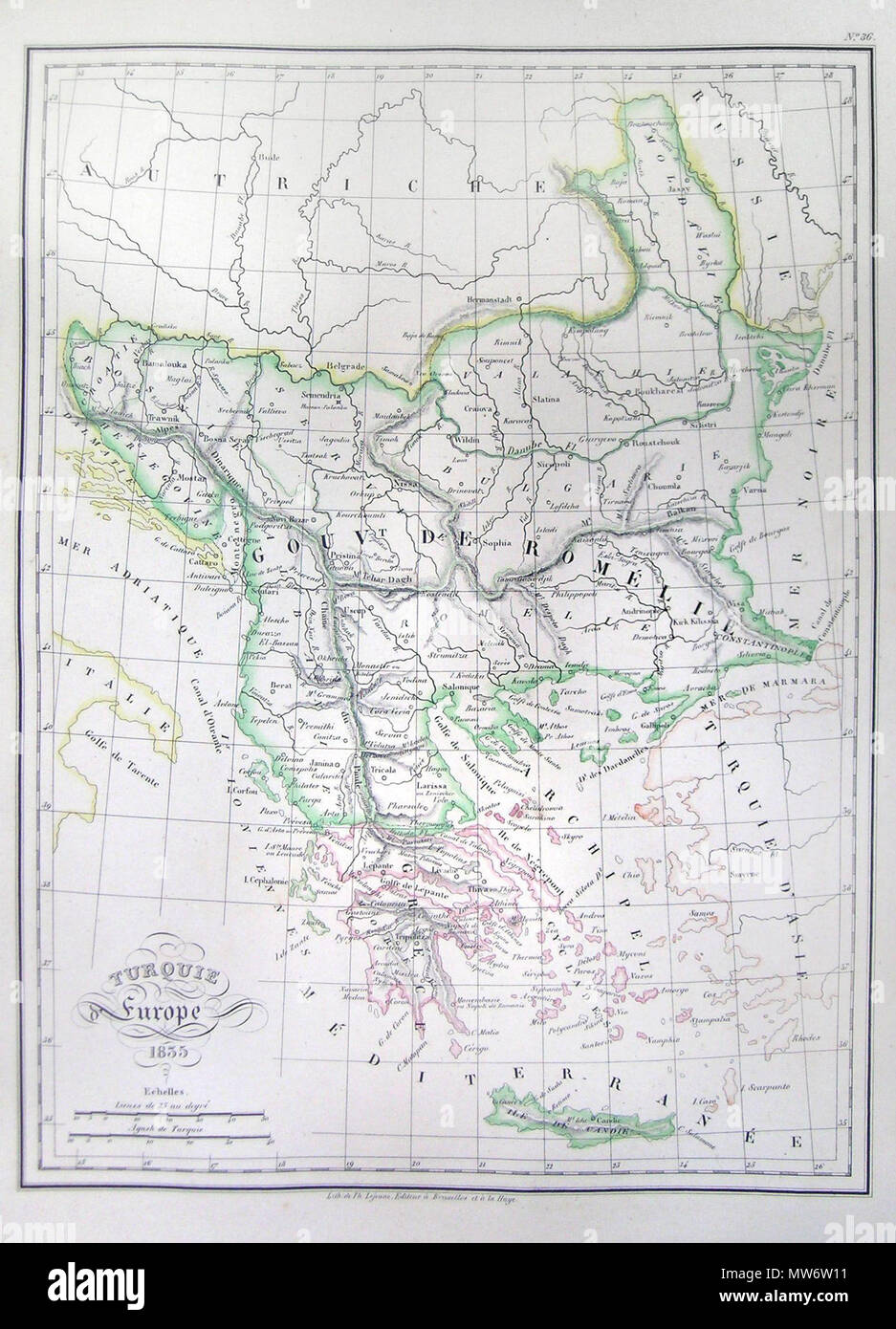 Turquie Europe 1835. English: This is a beautiful 1835 hand ...