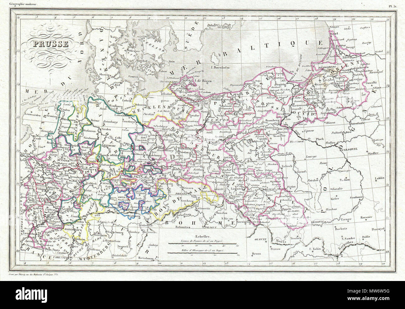 english this is an attractive 1843 map of prussia by the french