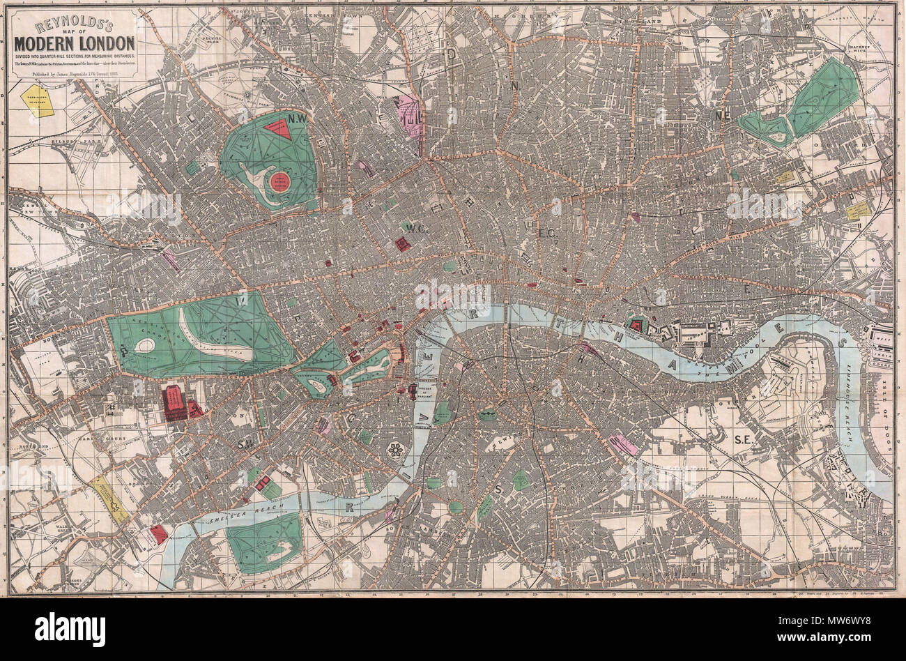 Sections Of London Map.Reynolds S Map Of Modern London Divided Into Quarter Mile Sections