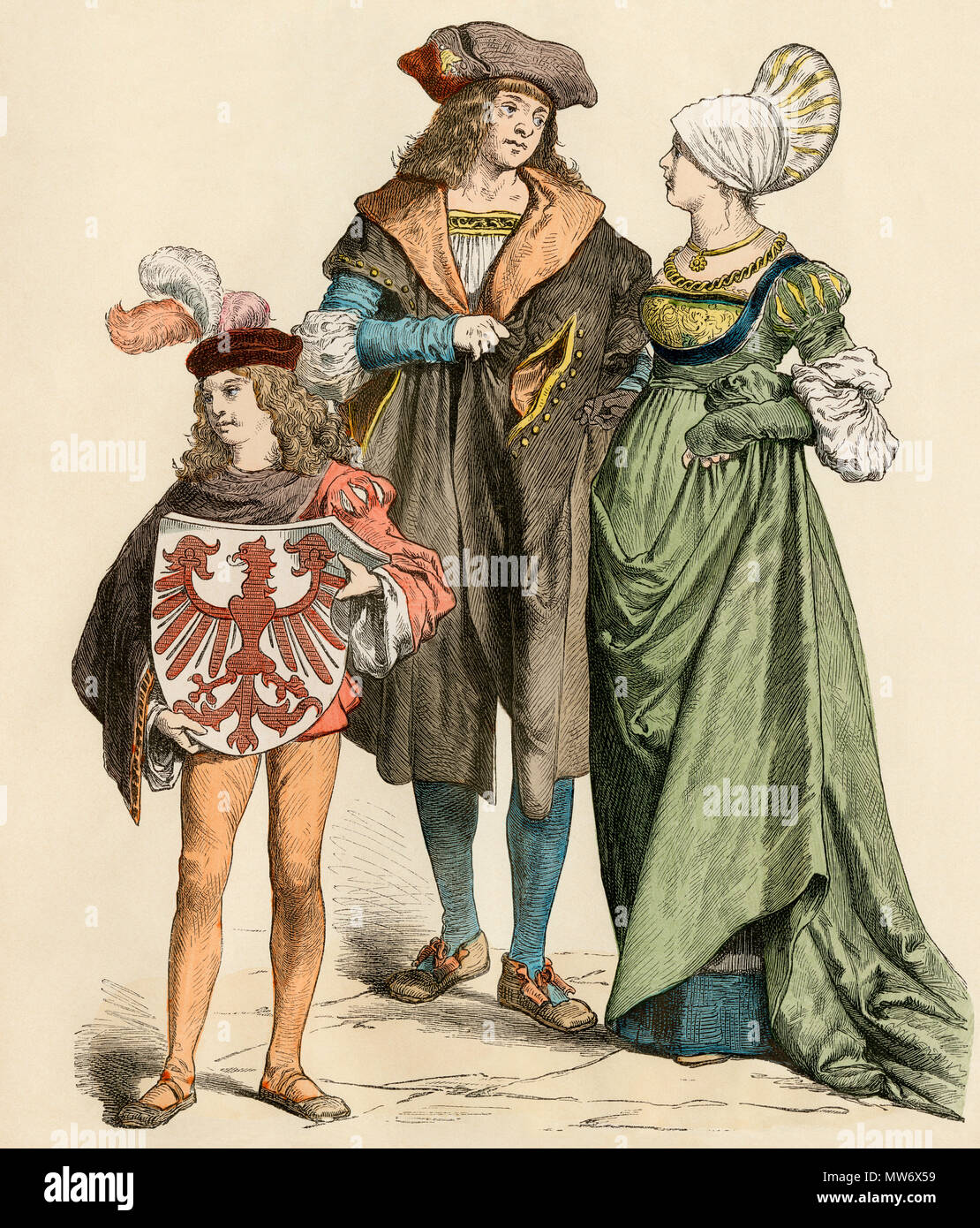 Prosperous middle-class urban Germans, or burghers, 1500s. Hand-colored print - Stock Image