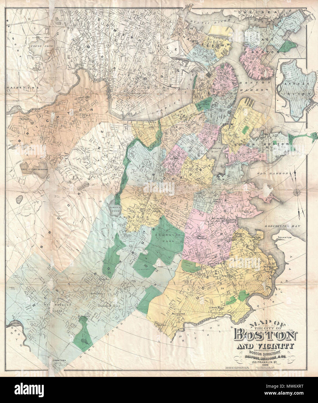 Map of The City of Boston and Vicinity. English: An extremely ...