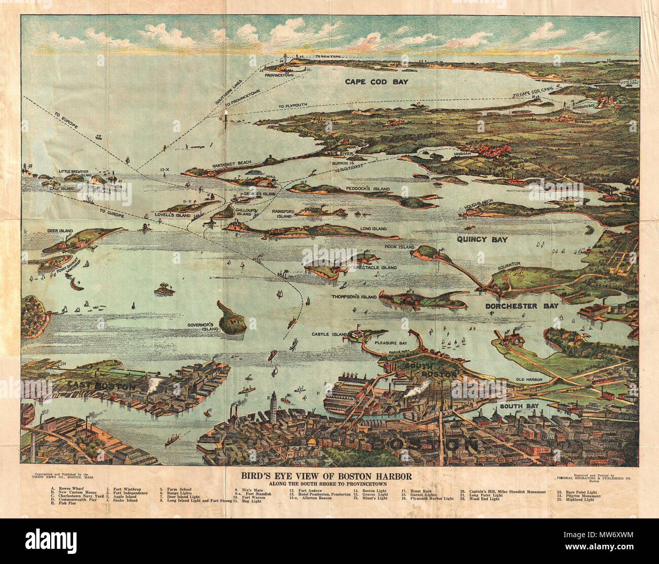 . Bird's Eye View of Boston Harbor in colors Along the South Shore to Plymouth Cape Code Canal and Provincetown Showing all Steamboat Routes.  English: A remarkable chromolithograph map and view of Boston Harbor from Boston to Provincetown. Includes all of Cape Cod Bay, Quincy Bay and Dorchester Bay with the communities of Boston, East Boston, South Boston, Dorchester, Quincy, Hough's Neck, Mingham, Nantasket, Duxbury, Plymouth, Cohasset, Scituate, and Provincetown noted. Also notes many of the Islands in Boston Harbor including Moon Island, Spectacle Island, Thomson's Island, Long Island, Gov - Stock Image