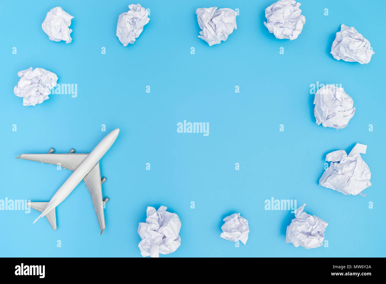 Plane travel on blue sky paper cloud frame poster Stock Photo ...