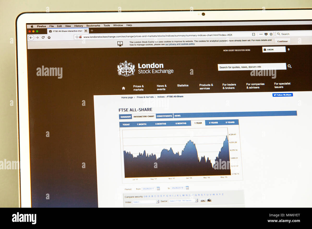 London Stock exchange website, London Stock exchange, Web page, website, internet page, homepage, web, page, pages, FTSE, stocks and shares, market - Stock Image
