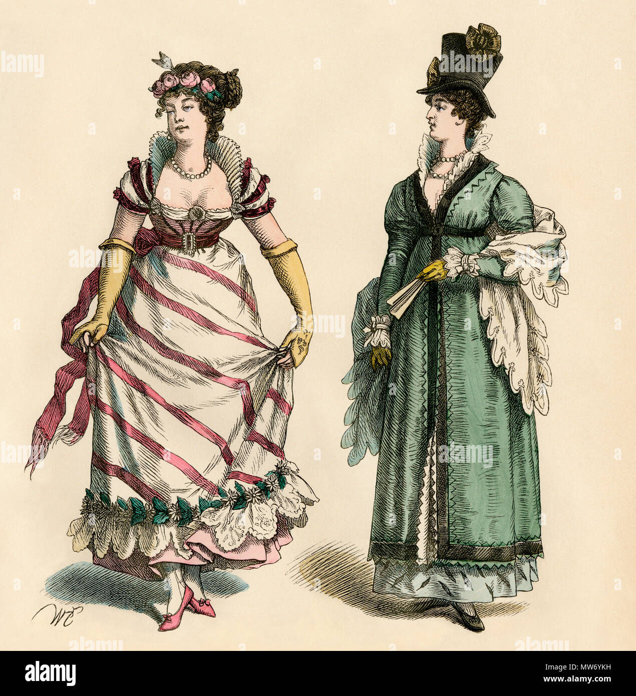Lady in a ballgown, 1805, and a lady in a top hat in street clothes. Hand-colored print - Stock Image