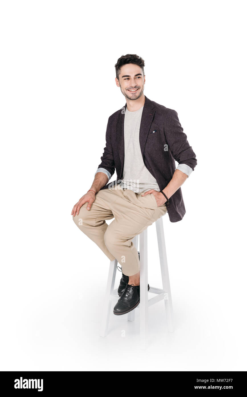 Admirable Casual African Caucasian Man Posing While Sitting On Chair Caraccident5 Cool Chair Designs And Ideas Caraccident5Info