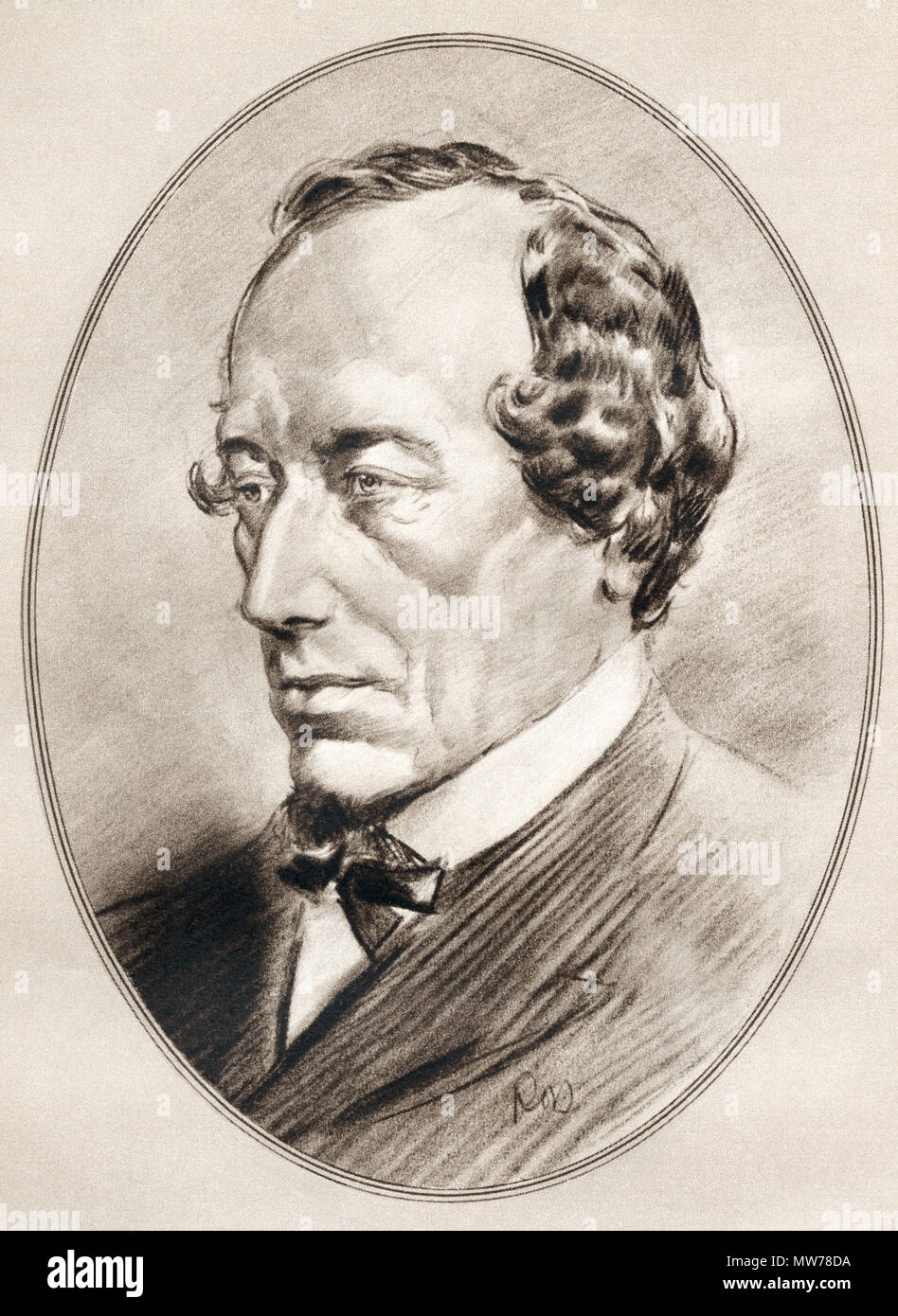 Benjamin Disraeli, 1st Earl of Beaconsfield, 1804 –  1881.  British statesman of the Conservative Party and two times Prime Minister of the United Kingdom.  Illustration by Gordon Ross, American artist and illustrator (1873-1946), from Living Biographies of Famous Men. Stock Photo