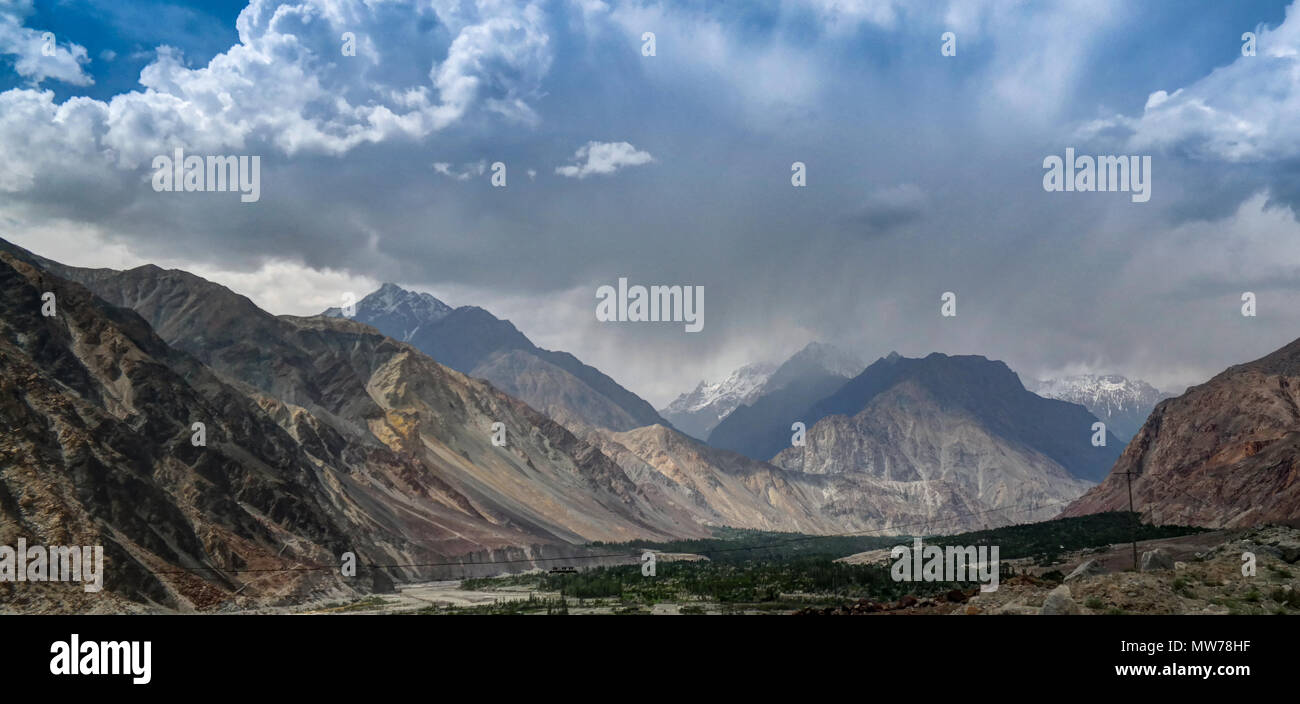 View to Hunza river and valley, Pakistan - Stock Image