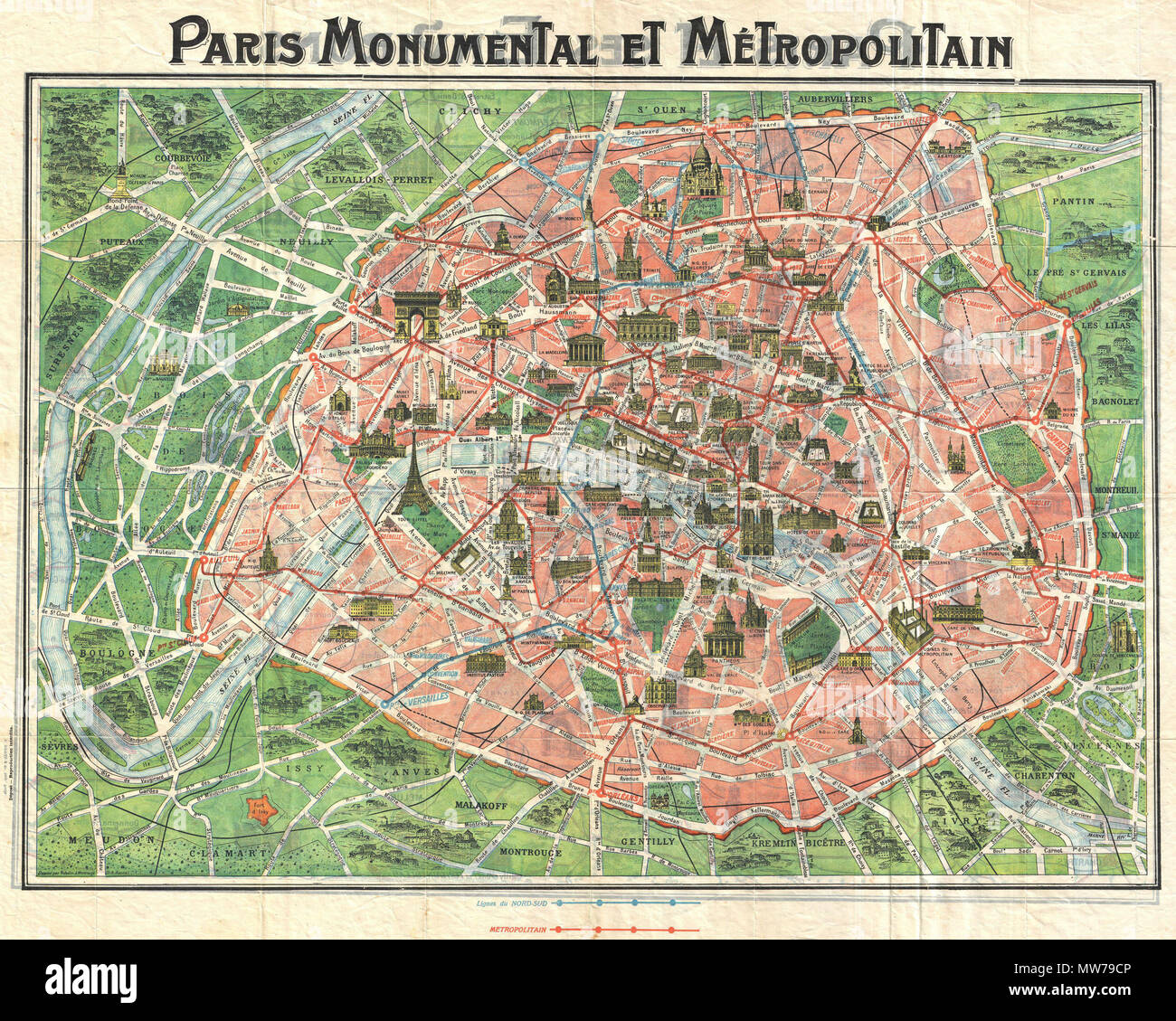 english this c 1920 map of paris france is one of the most desirable of the paris monumental series designed with the tourist in mind