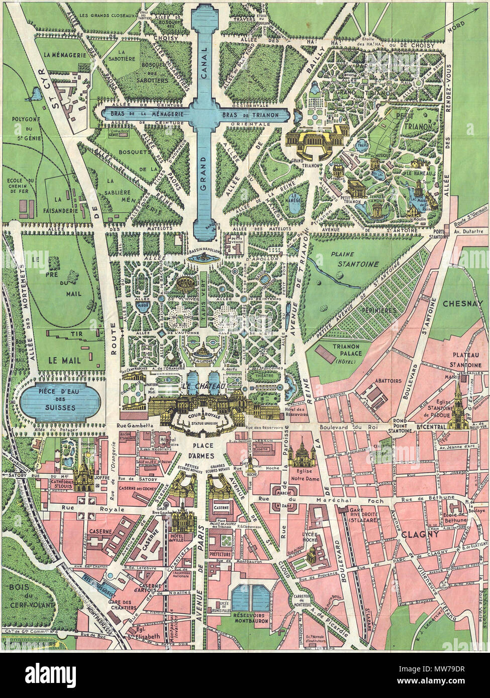 . Paris et ses Monuments. Versailles et ses Promenades.  English: This is an extremely attractive c. 1925 tourist pocket map of Paris, France. Covers the old walled city of Paris and the immediate vicinity. Drawn in a lavish art deco style with important buildings are shown in profile, including the Eiffel Tower, the Arc de Triomphe, Sacre-Coeur, the Pantheon, and others. Shows both the train and Metro lines throughout the city. This map was issued in various editions from, roughly 1900 to 1937. Most examples, like this one, are undated but we can estimate a approximate date based upon the dev - Stock Image
