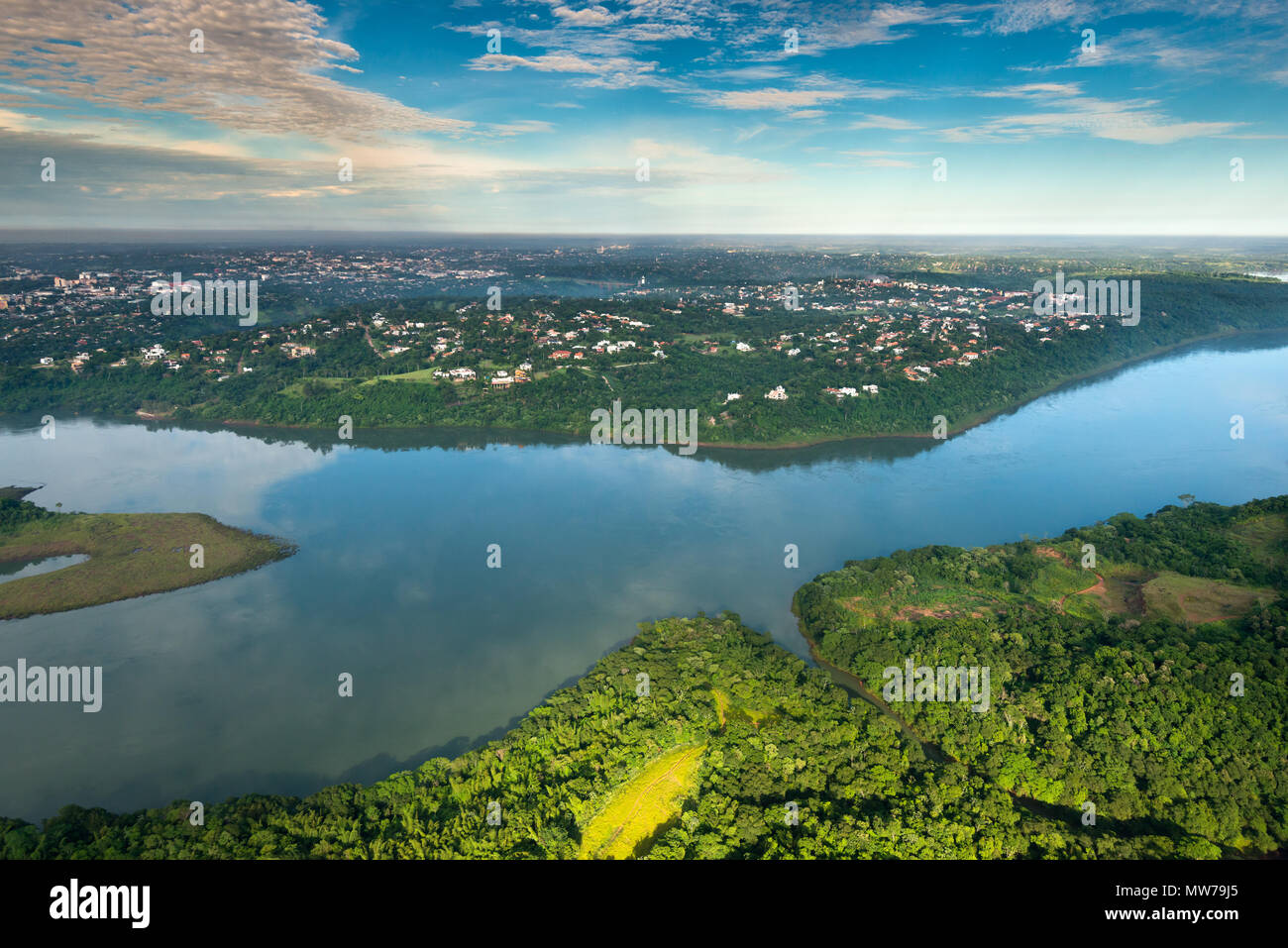 Aerial view of Parana River on the border of Paraguay and Brazil - Stock Image