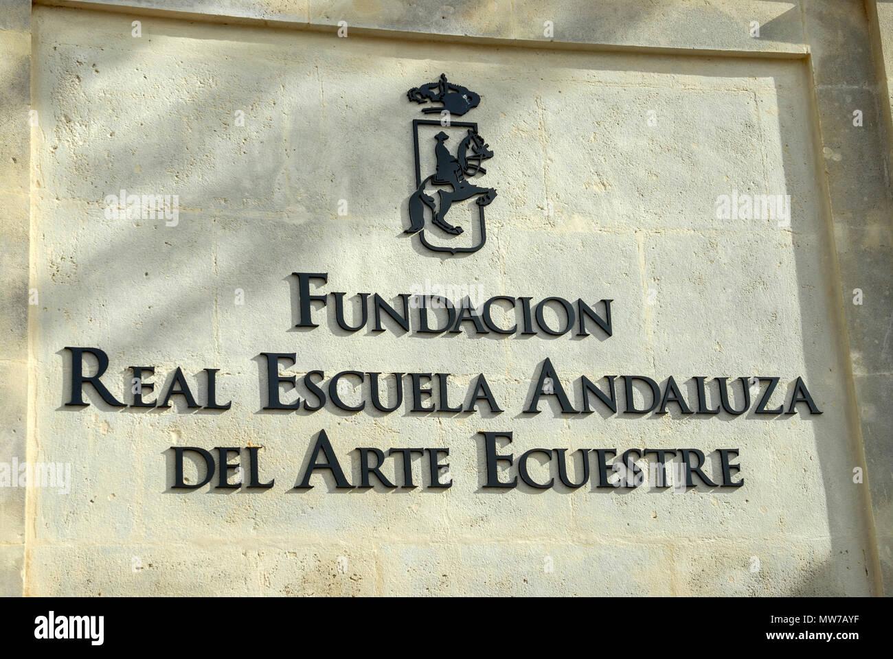 The main gated entrance to the famed Real Escuela Andaluza de Arte Equestre - the Royal Andalucian School of Equestrian Art in Jerez de la Frontera, c - Stock Image