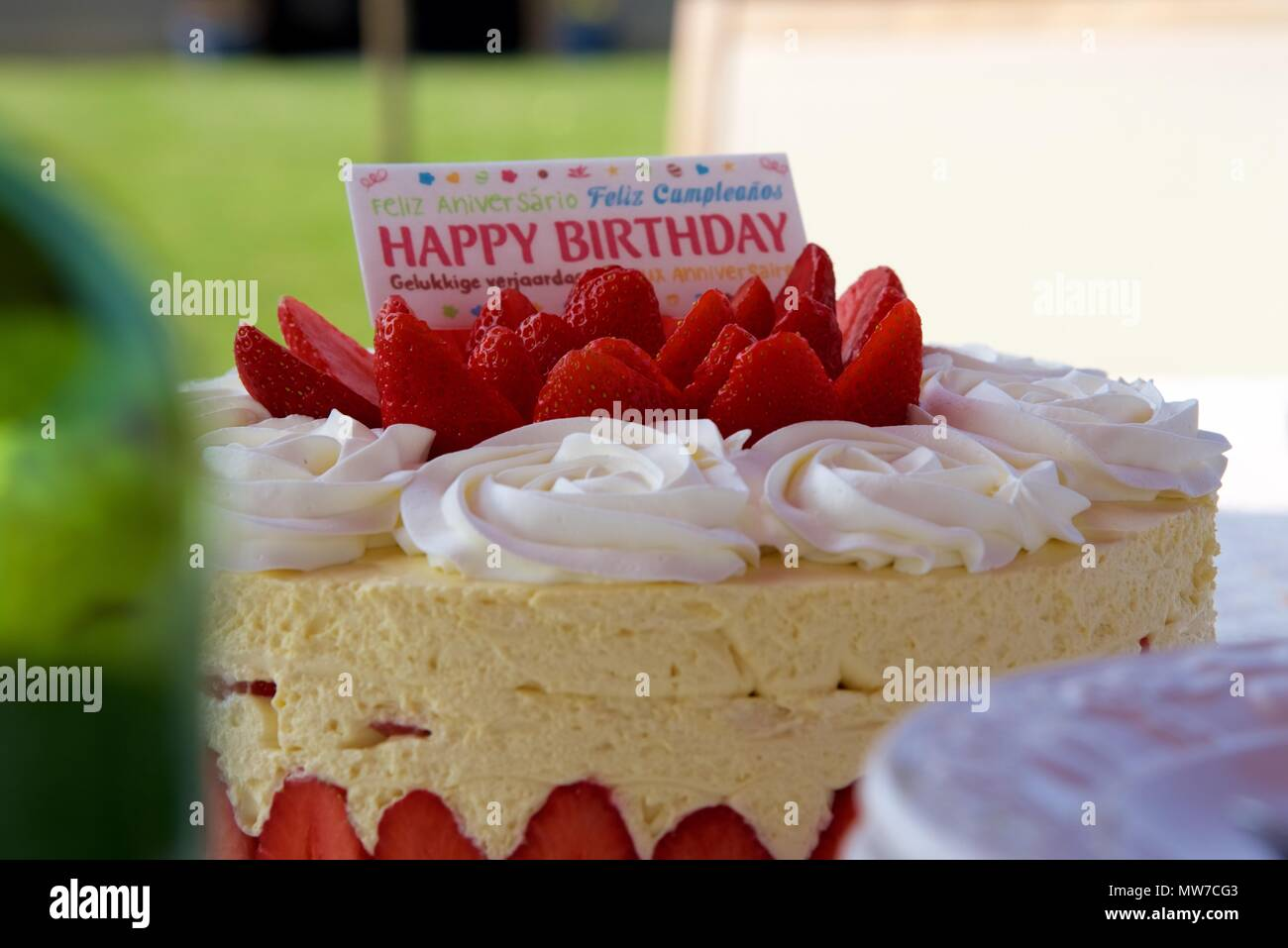 Birthday Cake A Strawberry With Multi Lingual Card Saying Happy