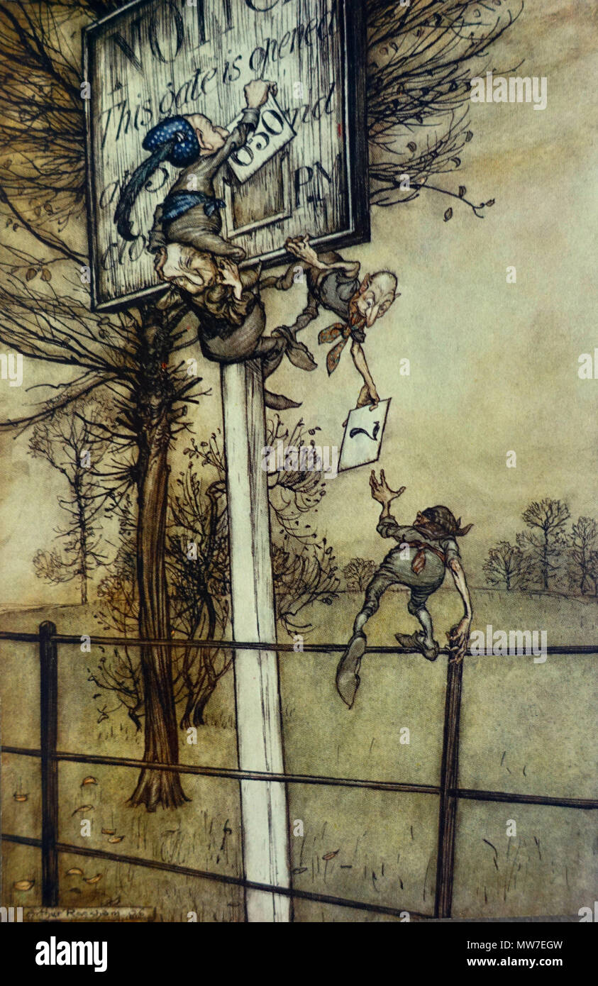 Arthur Rackham - These tricky fairies sometimes change the board on a ball night Stock Photo