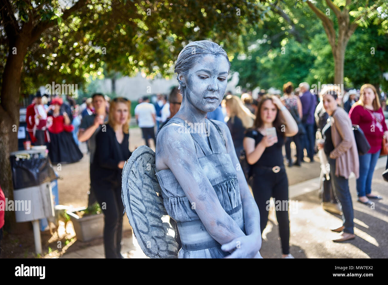 portrait of a cosplayer performing as a statue - Stock Image