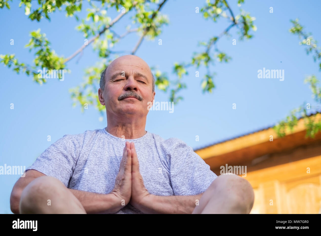 Peaceful senior man meditating seated ooutdoor under the tree - Stock Image