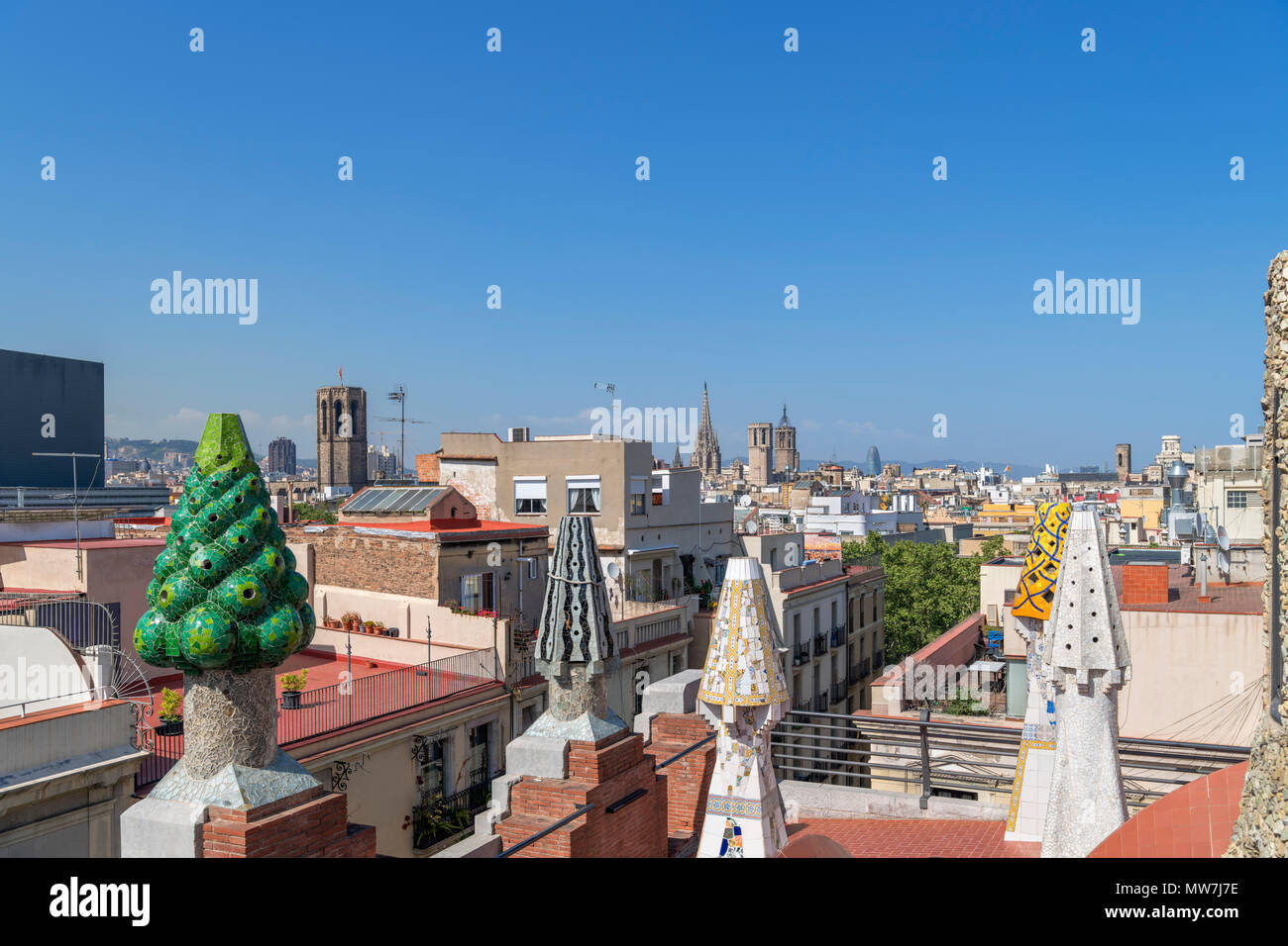View over the city from the roof of the Gaudi designed Palau Guell, El Raval, Barcelona, Spain - Stock Image