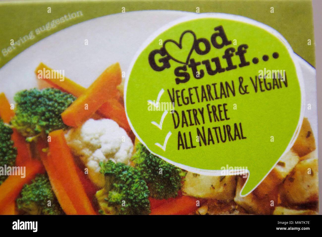 Good stuff label on food packaging: Vegetarian & Vegan, Dairy Free, All Natural - Stock Image