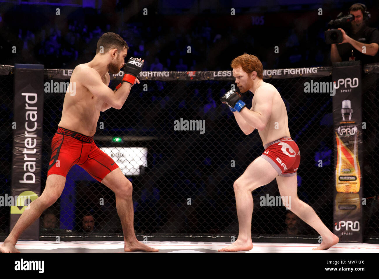 Aaron Aby (left) versus Connor Hignett (right) in a catchweight contest at ACB 54 in Manchester, UK. Aby won after three rounds by split decision. Absolute Championship Berkut, Mixed Martial Arts, MMA. - Stock Image