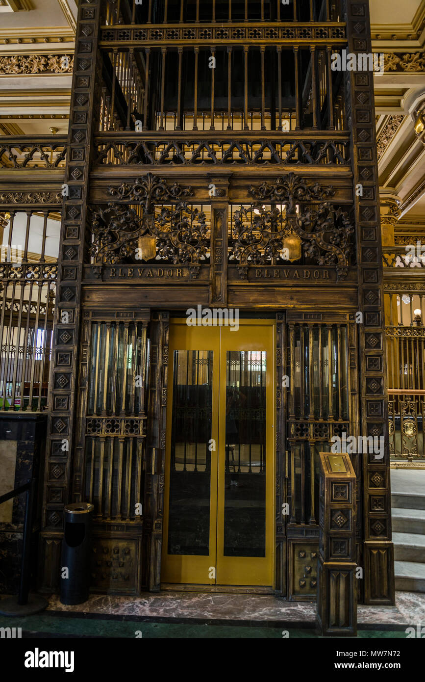 Postal Palace of Mexico City, also known as the 'Correo Mayor' or Main Post Office, Lift, Mexico City, Mexico - Stock Image