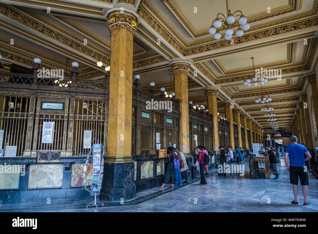 Postal Palace of Mexico City, also known as the 'Correo Mayor' or Main Post Office, service windows, Mexico City, Mexico - Stock Image