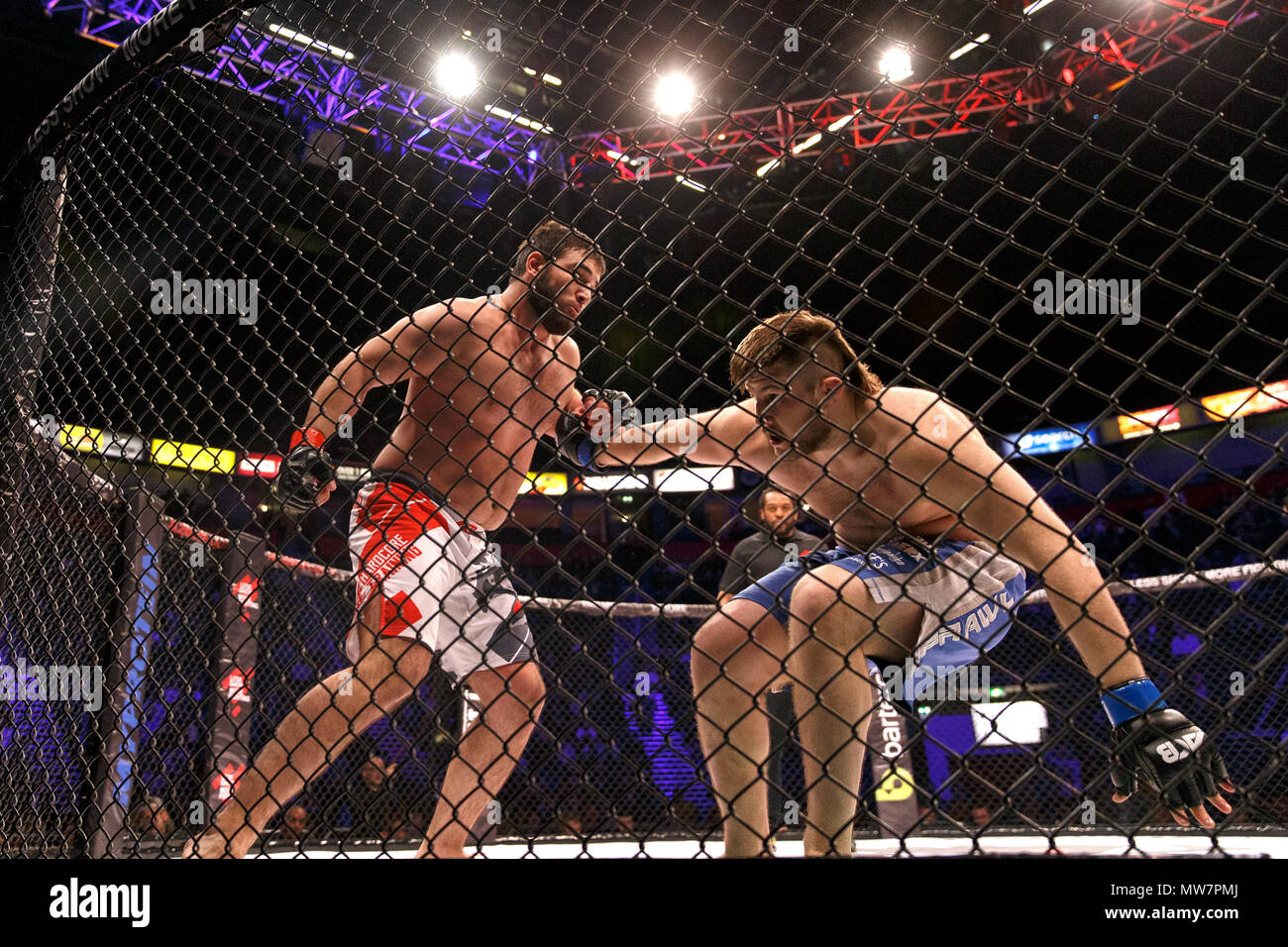 Mukhomad Vakhaev (left) rocks Tanner Boser with a punch at ACB 54 in