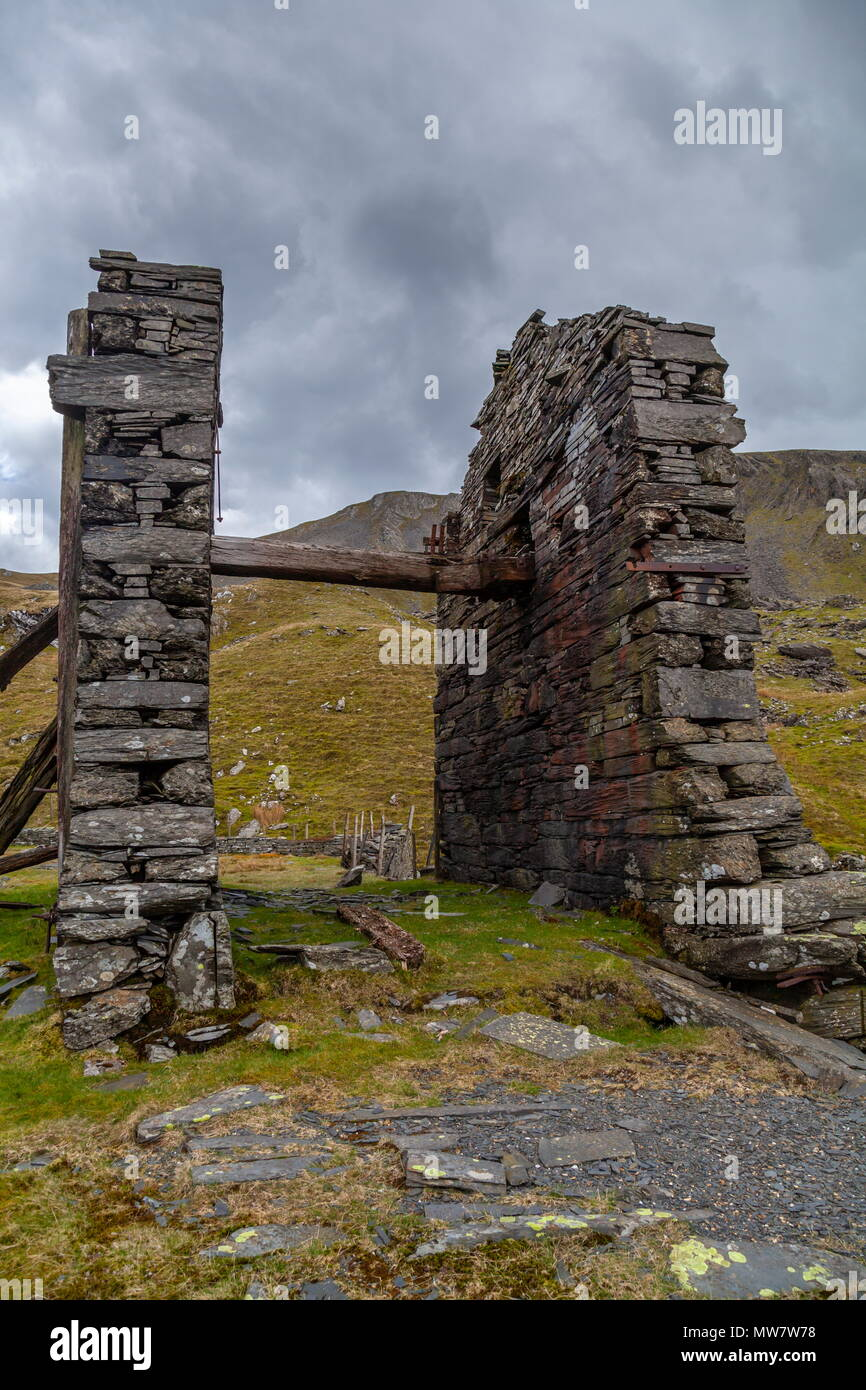The disused drum house for the incline plane at Croesor Quarry, Snowdonia National Park - Stock Image