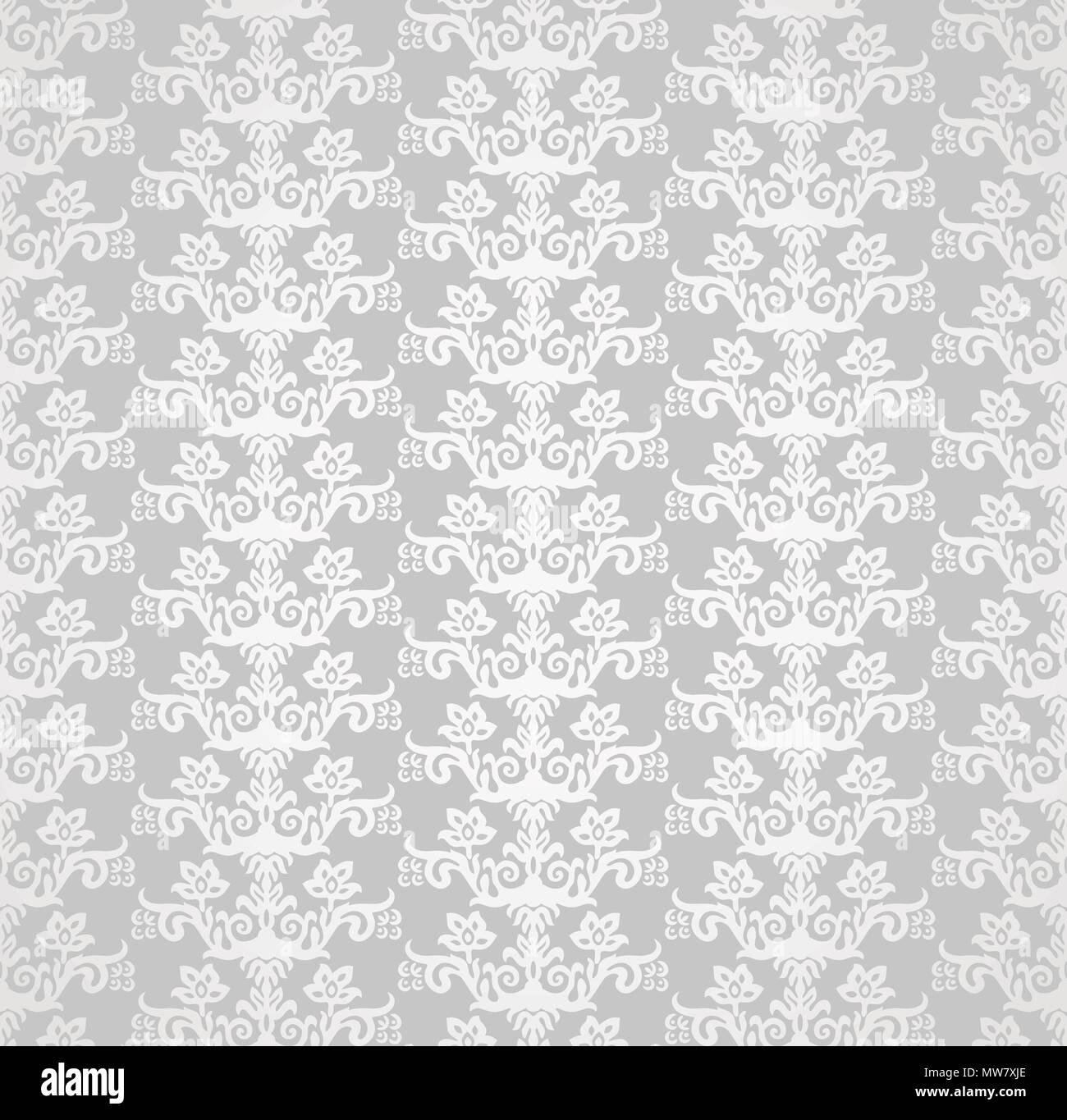Silver seamless victorian style floral wallpaper pattern. This image is a vector illustration. - Stock Image