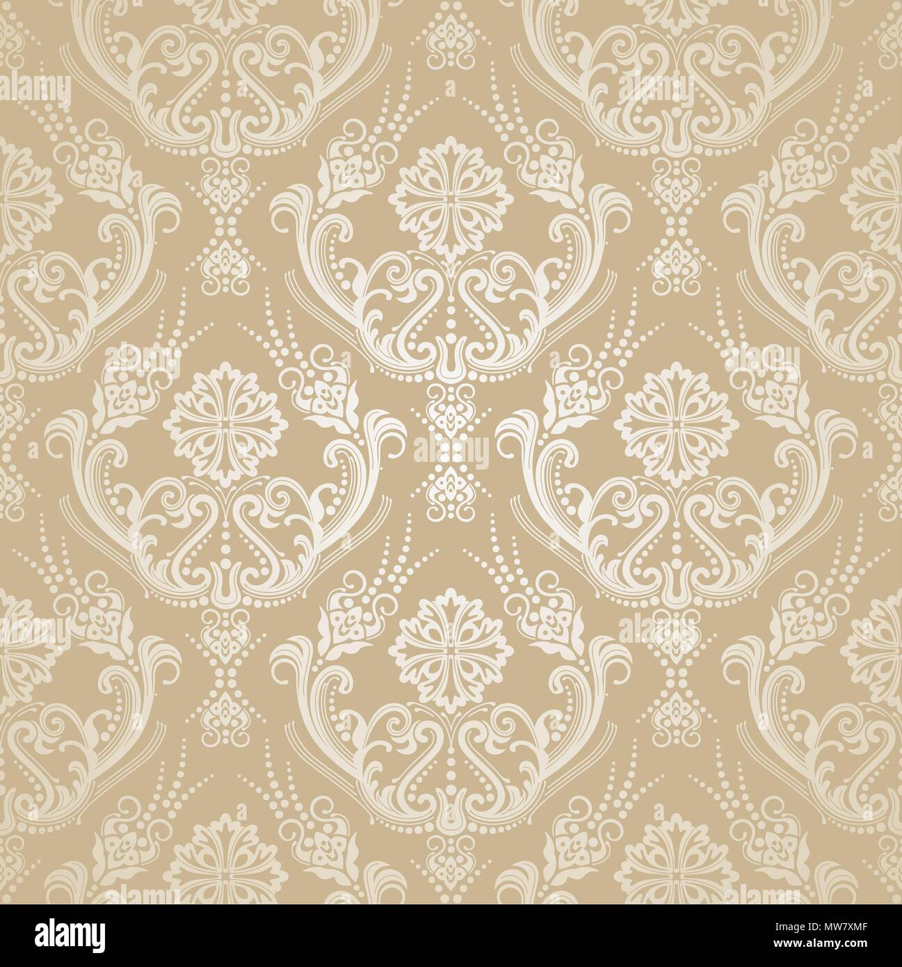Seamless Golden Floral Victorian Style Damask Wallpaper Pattern This Image Is A Vector Illustration