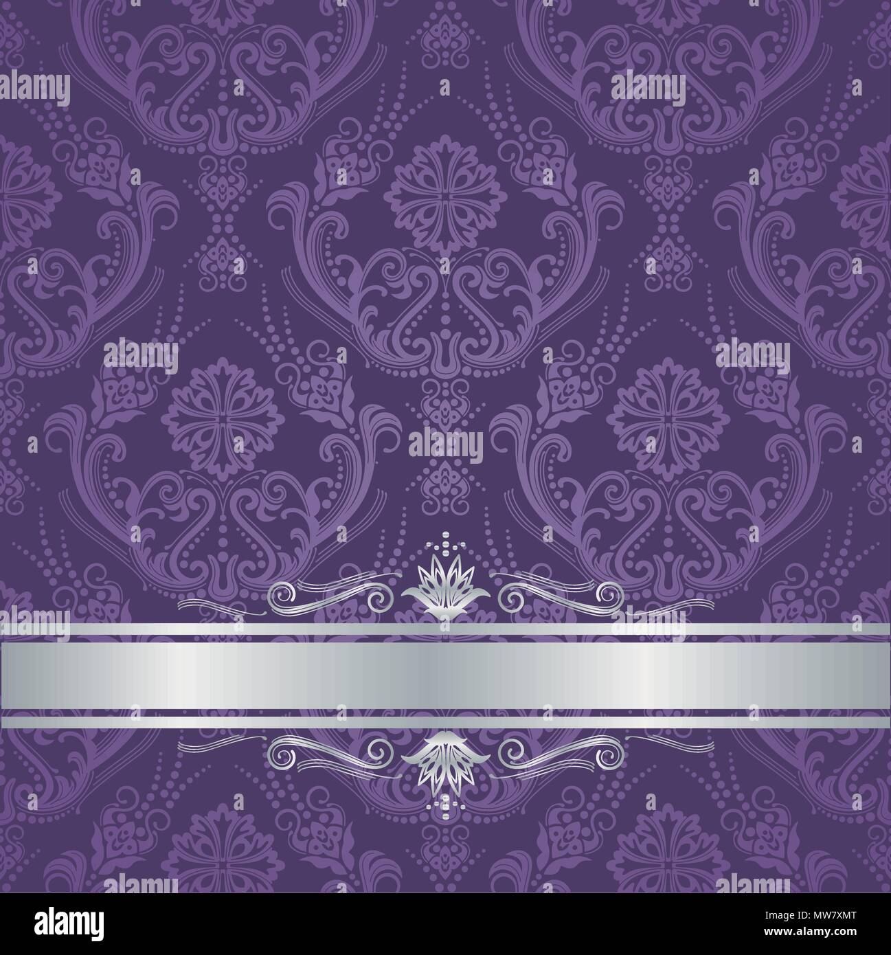 Luxury Purple Victorian Style Floral Damask Wallpaper Cover With Silver Border This Image Is A Vector Illustration