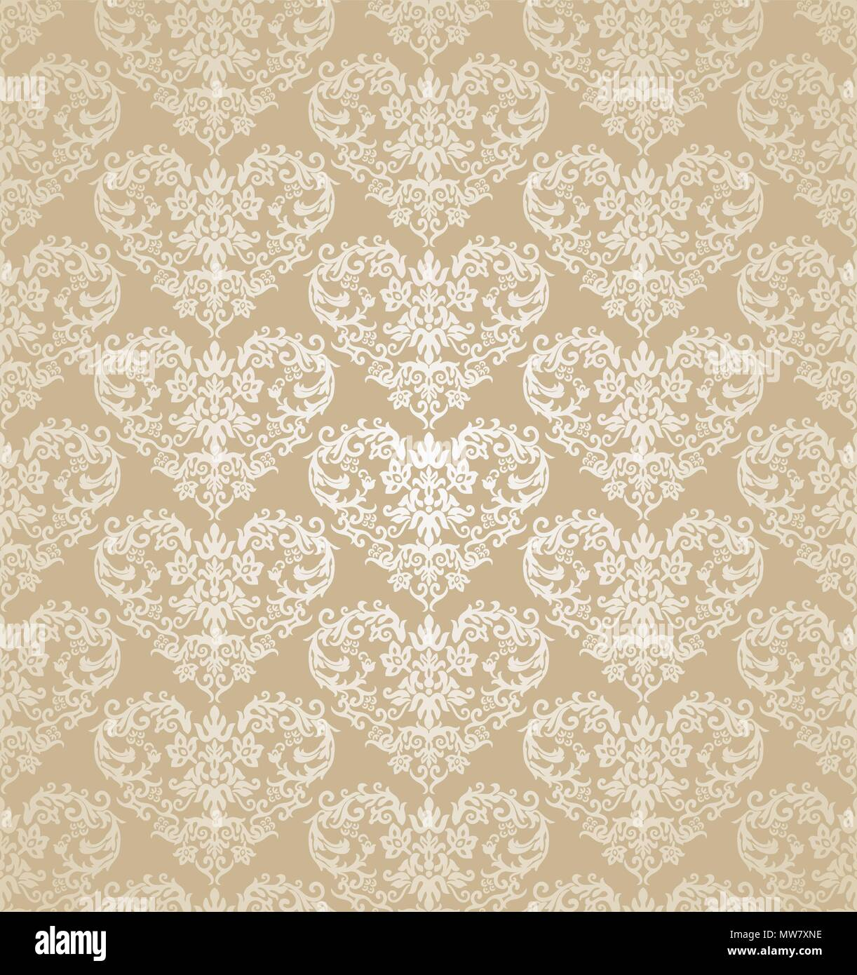 Seamless Floral Hearts Golden Damask Wallpaper This Image Is A