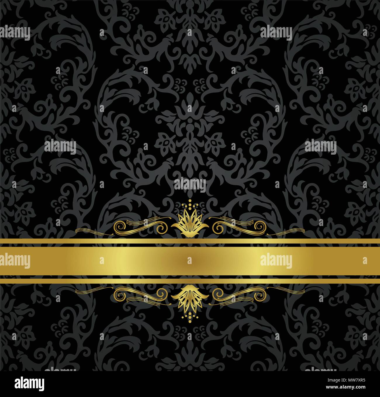 seamless black floral wallpaper pattern and gold ribbon with decorative swirls this image is a vector illustration MW7XR5