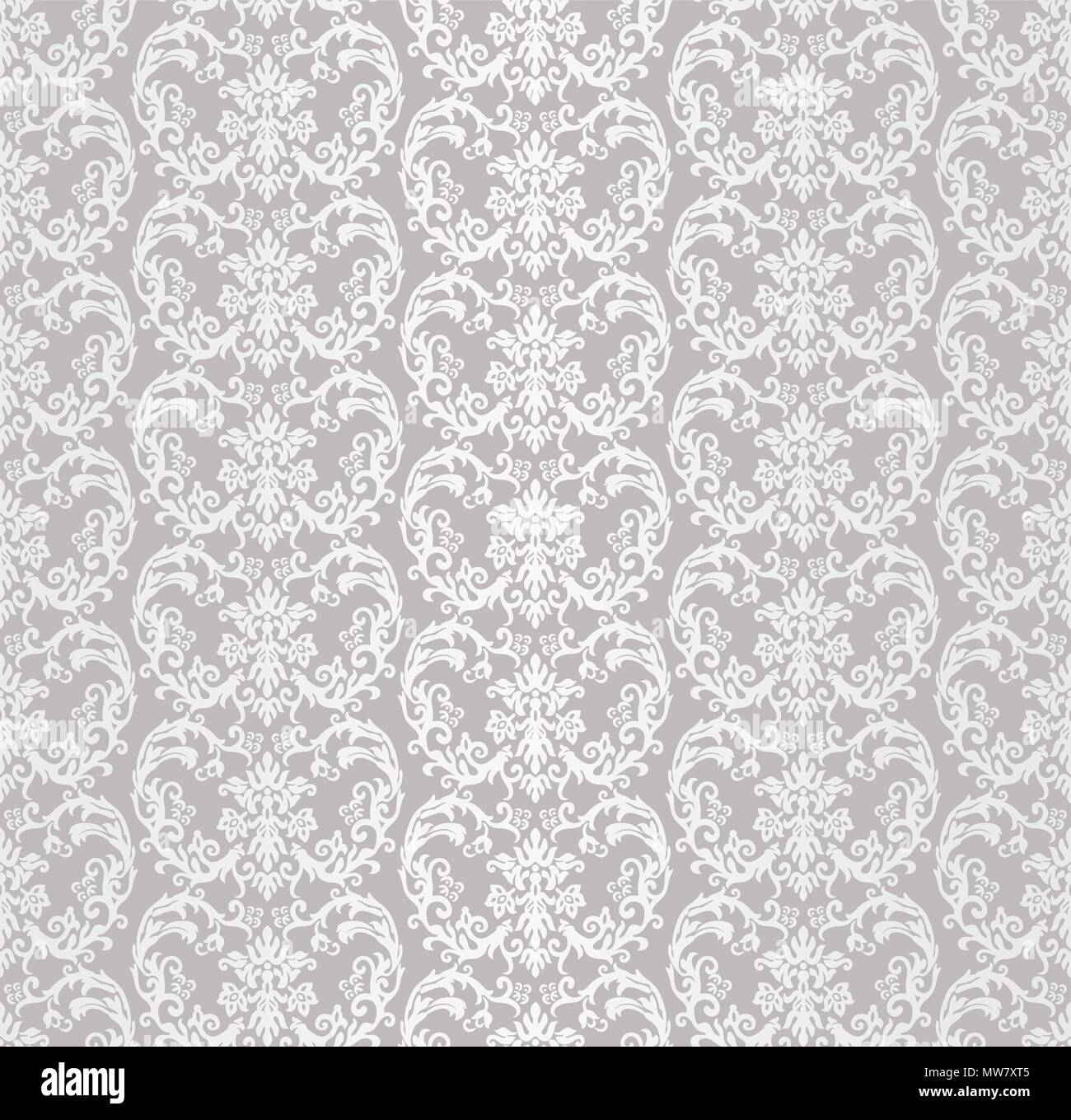 Silver Seamless Victorian Style Floral Wallpaper Pattern This