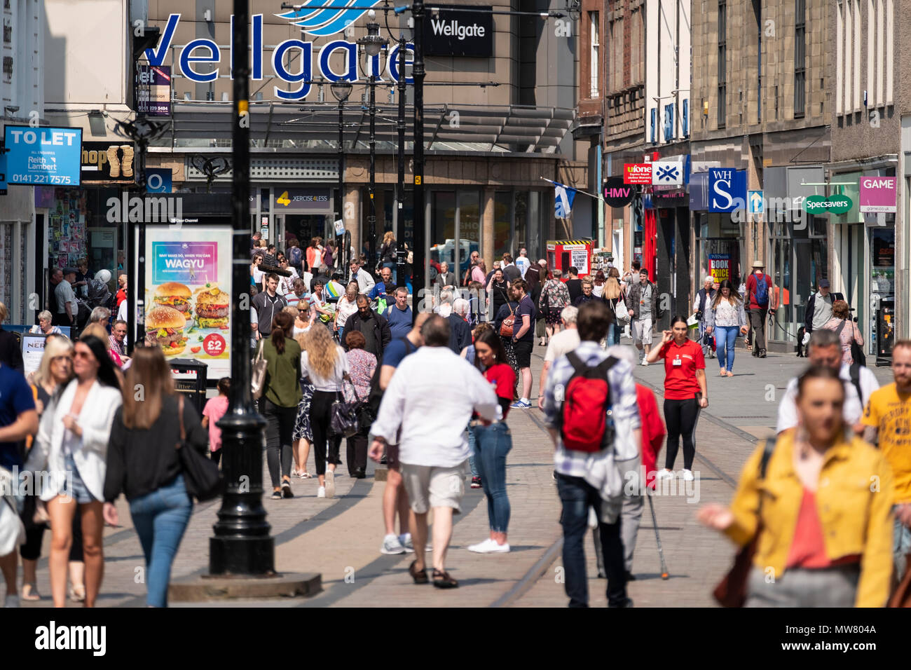 Busy Murraygate street pedestrianised shopping street in central Dundee, Tayside,Scotland, Uk - Stock Image