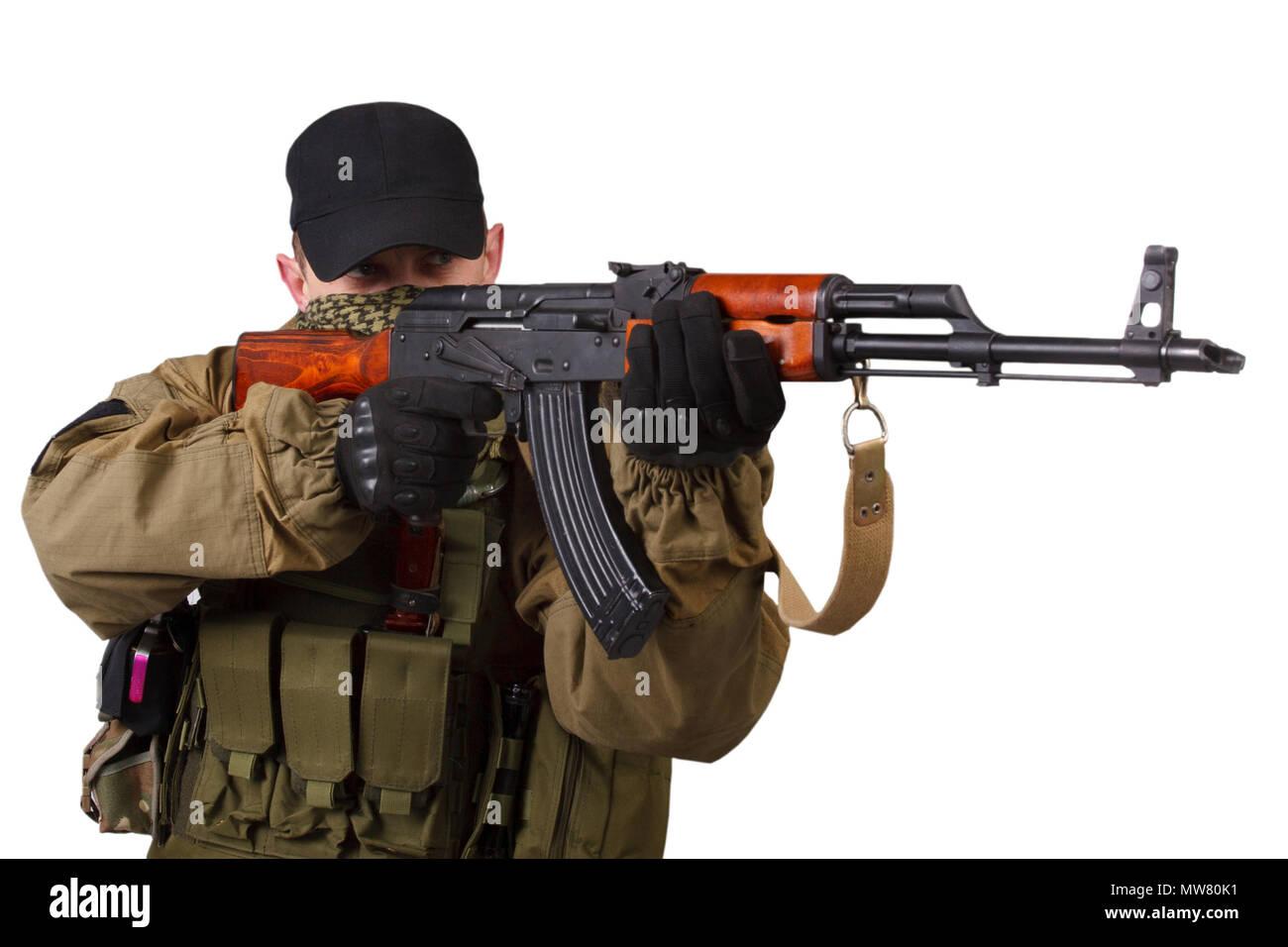 Man Holding Ak47 Gun Stock Photos & Man Holding Ak47 Gun
