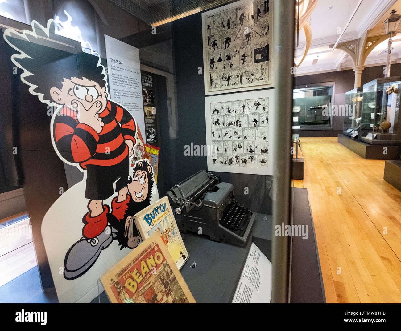 View of exhibit of local comics inside the McManus art gallery and museum in Dundee, Tayside, Scotland, UK - Stock Image