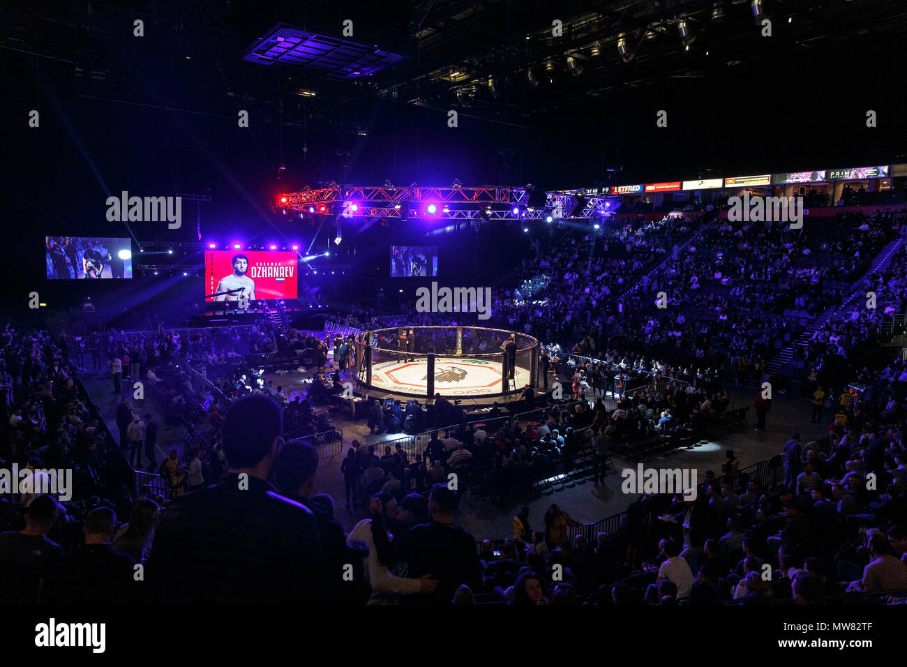 The interior of Manchester Arena in 2017 during a Mixed Martial Arts (MMA) event held by the Russian promotion Absolute Championship Berkut. - Stock Image
