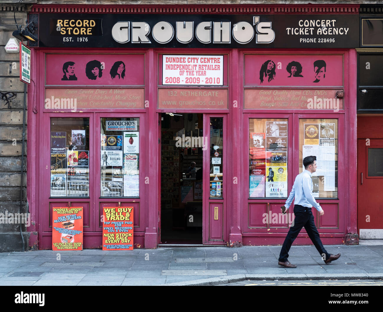 Exterior of Groucho's second hand record shop in Dundee, Scotland, UK - Stock Image