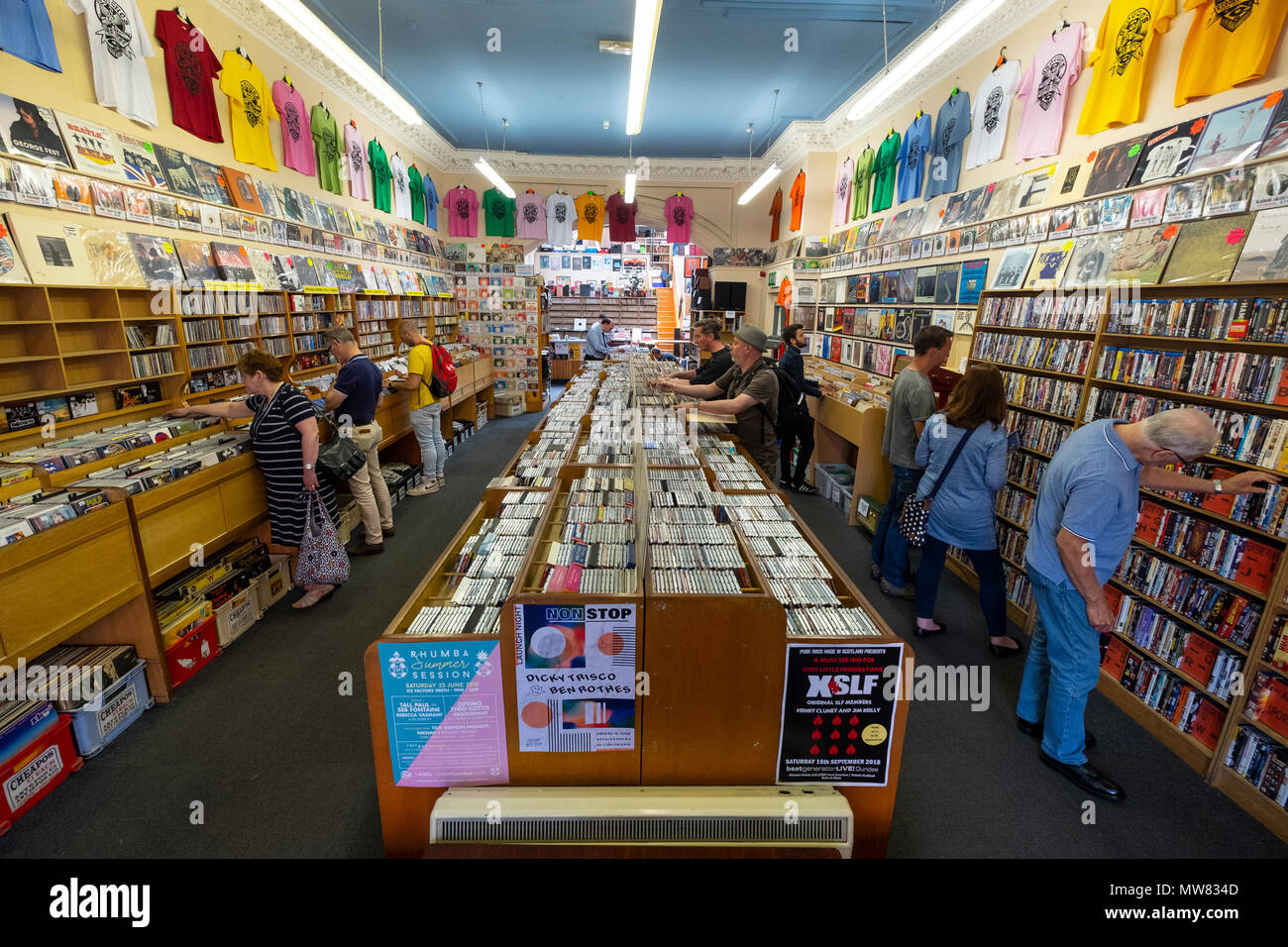 Interior of Groucho's second hand record shop in Dundee, Scotland, UK - Stock Image