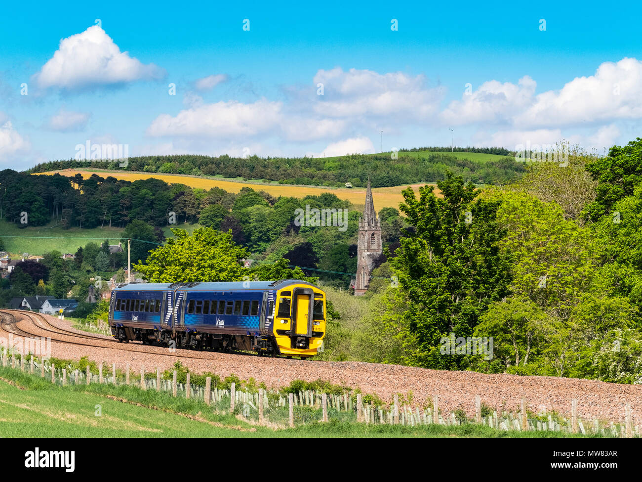 View of passenger train on Borders railway at Stow, Scottish Borders , Scotland, UK - Stock Image