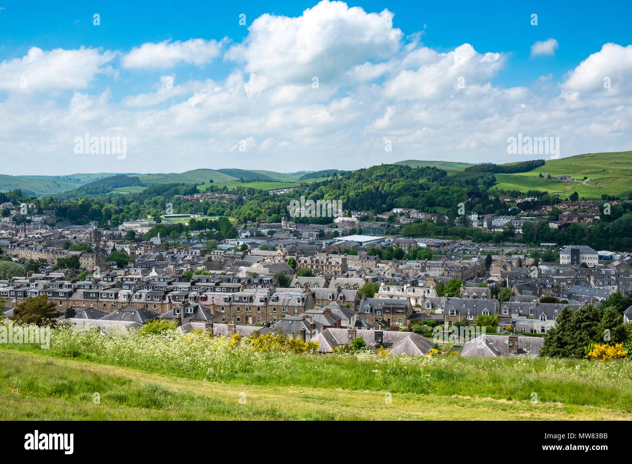 View over the town of Hawick in the Scottish Borders, Scotland, UK - Stock Image