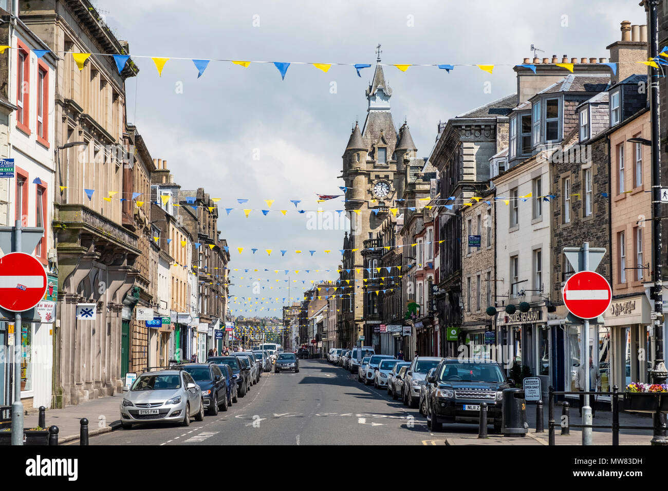 View of the High Street in Hawick, Scottish Borders, Scotland,UK - Stock Image