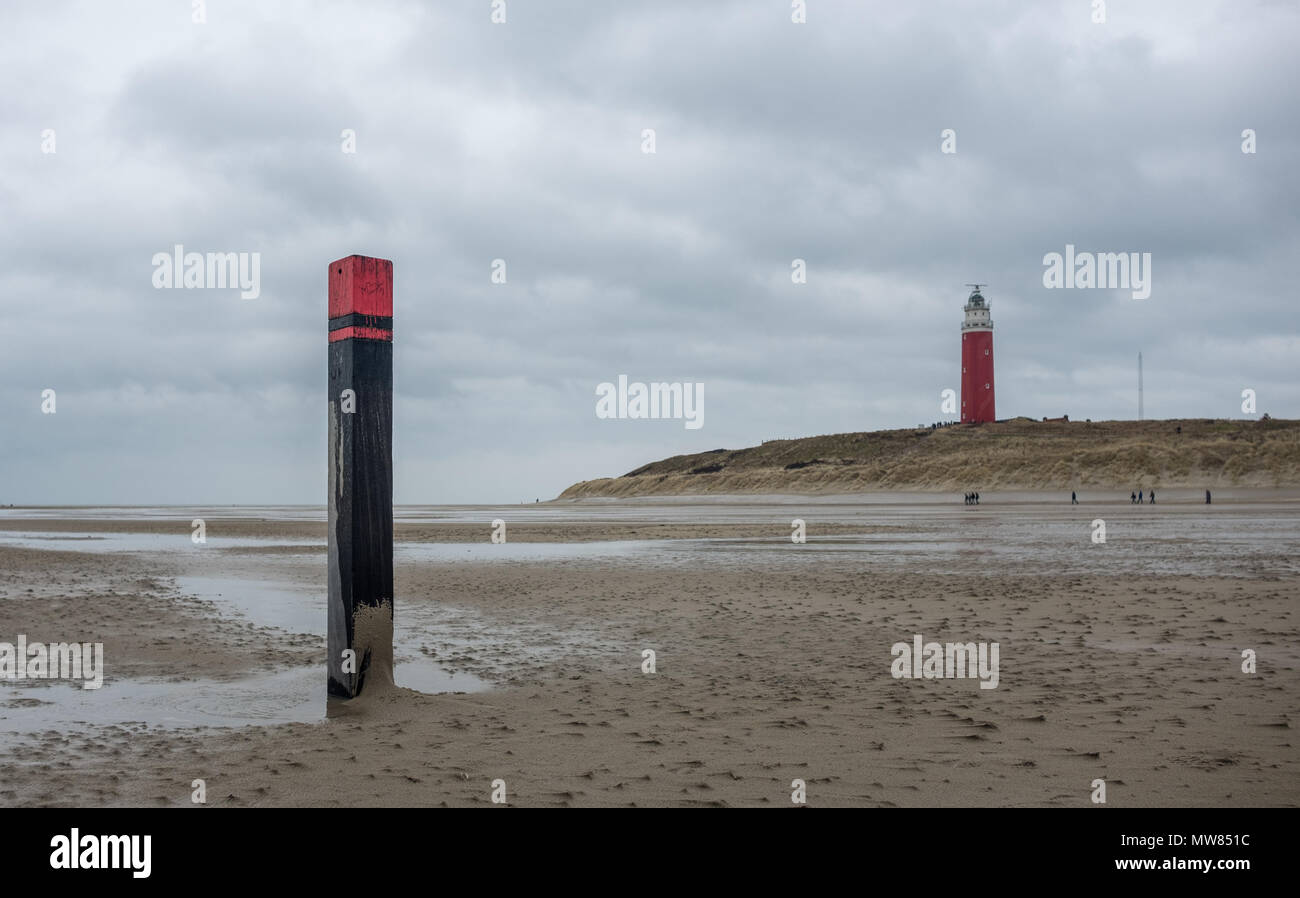 View on old lighthouse of De Cocksdorp, on Tuesday 28 February 2017, Texel, The Netherlands. Stock Photo