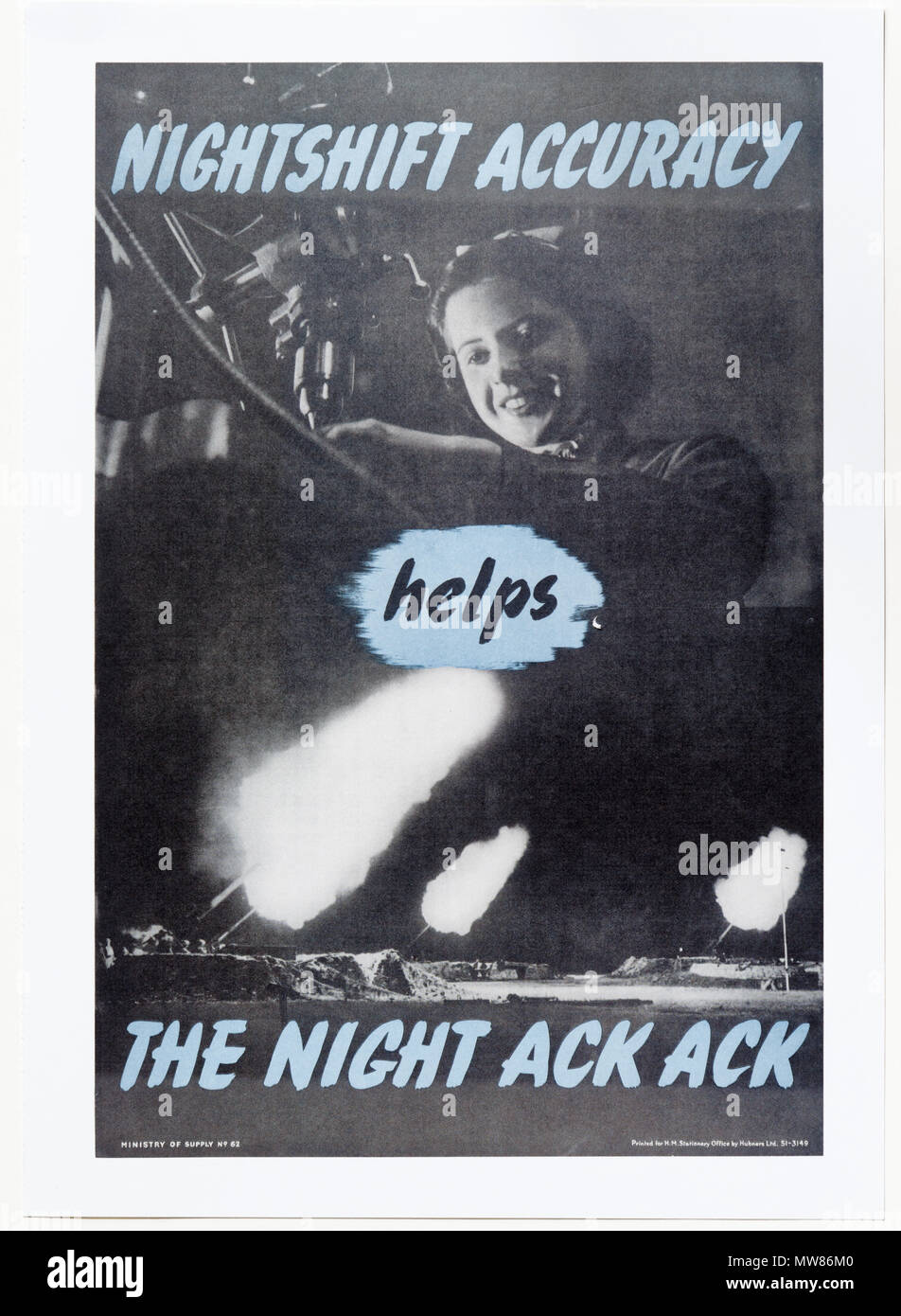 A Second World War poster saying Nightshift Accuracy helps Night Ack Ack, encouraging people to stay alert when working long hours - Stock Image