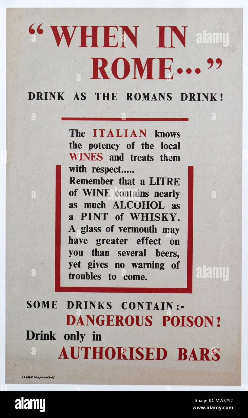 A Second World War poster warning allied troops based in Italy about the dangers of drinking alcohol - Stock Image