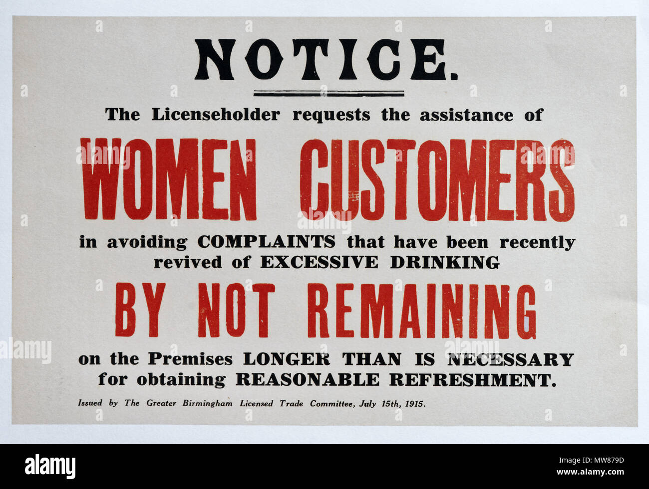 A British first world war notice to women customers in pubs to avoid excessive drinking - Stock Image