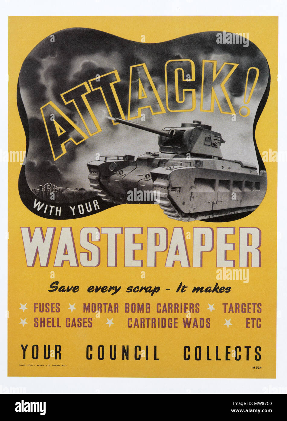 A Second World War poster promoting the salvage, and recycling of waste paper - Attack with your Wastepaper - Stock Image